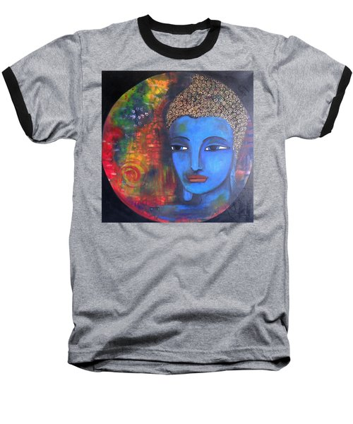 Baseball T-Shirt featuring the painting Buddha Within A Circular Background by Prerna Poojara