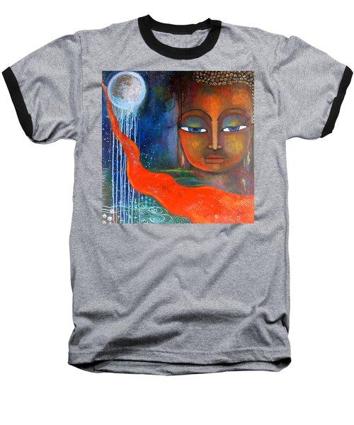 Baseball T-Shirt featuring the painting Buddhas Robe Reaching For The Moon by Prerna Poojara