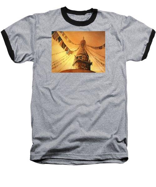 Buddhist Stupa- Nepal Baseball T-Shirt by Ryan Fox