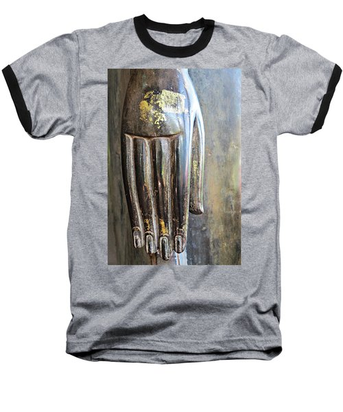 Budha's Hand Baseball T-Shirt by Ethna Gillespie