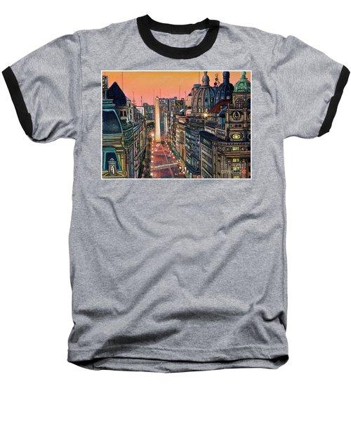 Buenos Aires Twilight Baseball T-Shirt by Bernardo Galmarini