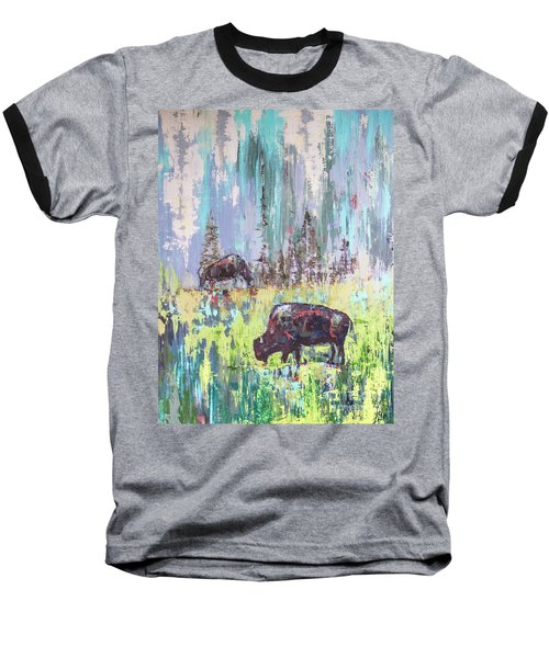 Buffalo Grazing Baseball T-Shirt