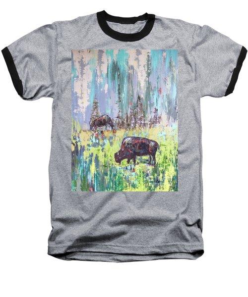 Buffalo Grazing Baseball T-Shirt