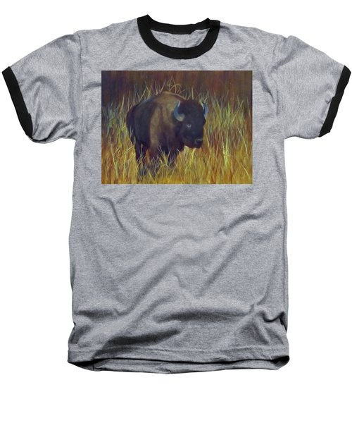 Baseball T-Shirt featuring the painting Buffalo Grazing by Roseann Gilmore