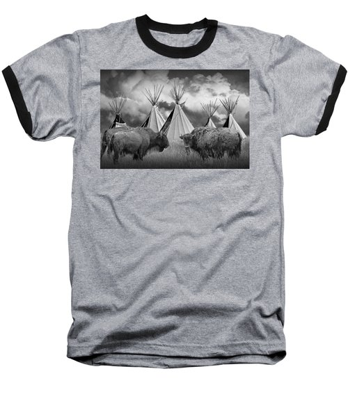 Buffalo Herd Among Teepees Of The Blackfoot Tribe Baseball T-Shirt