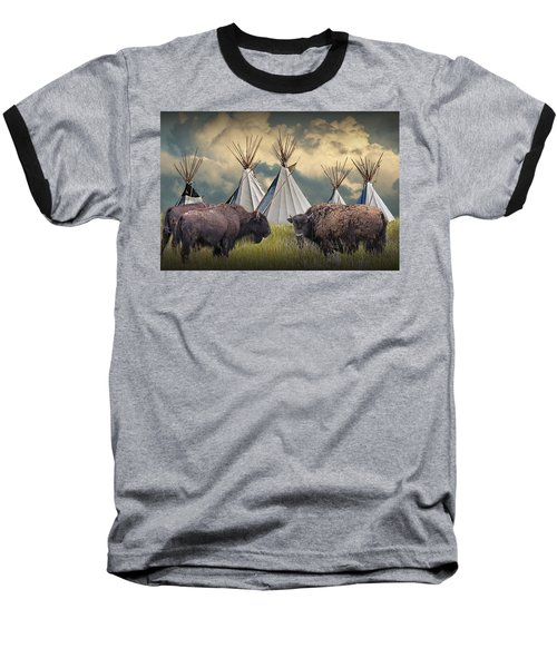 Buffalo Herd On The Reservation Baseball T-Shirt
