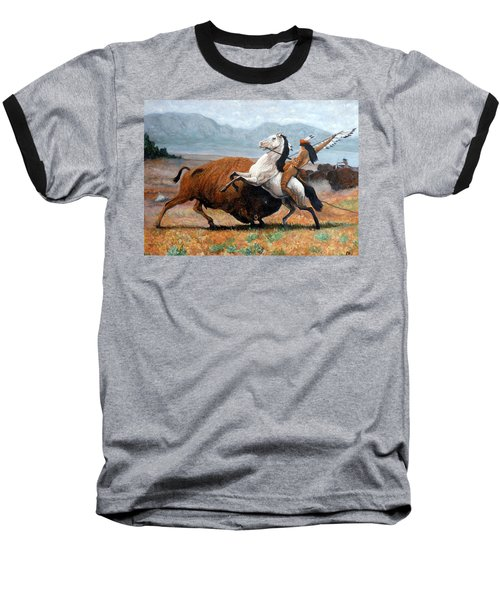 Baseball T-Shirt featuring the painting Buffalo Hunt by Tom Roderick