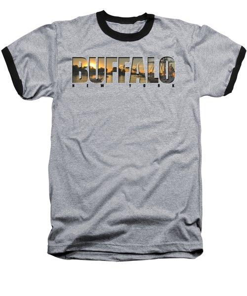 Buffalo Ny Canalside Sunset Baseball T-Shirt by Michael Frank Jr