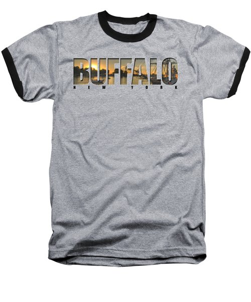Buffalo Ny Canalside Sunset Baseball T-Shirt