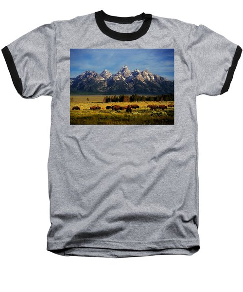 Buffalo Under Tetons Baseball T-Shirt