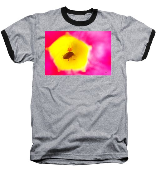 Baseball T-Shirt featuring the photograph Bug In Pink And Yellow Flower  by Ben and Raisa Gertsberg