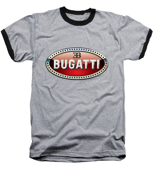 Bugatti - 3 D Badge On Black Baseball T-Shirt