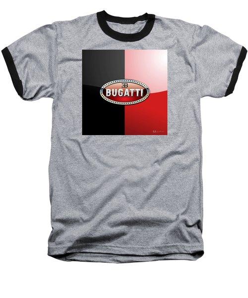 Bugatti 3 D Badge On Red And Black  Baseball T-Shirt