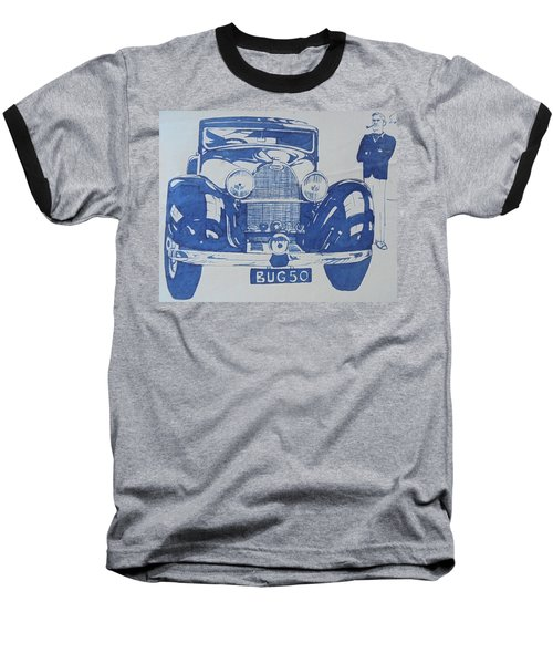 Baseball T-Shirt featuring the drawing Bugatti by Mike Jeffries