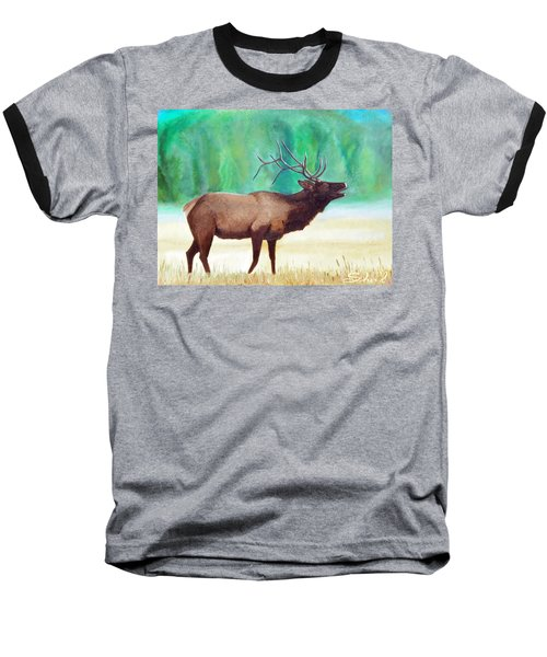 Baseball T-Shirt featuring the painting Bugling Elk by Sherril Porter