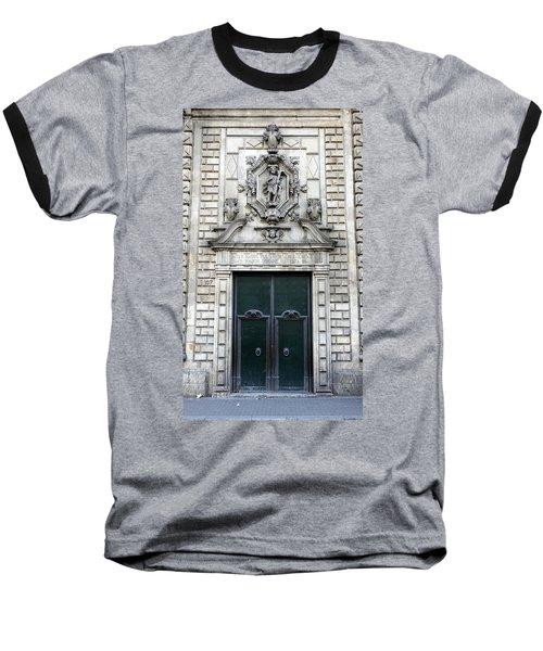 Building Artwork And Old Door In Barcelona Baseball T-Shirt by Richard Rosenshein