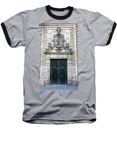Building Artwork And Old Door In Barcelona Baseball T-Shirt