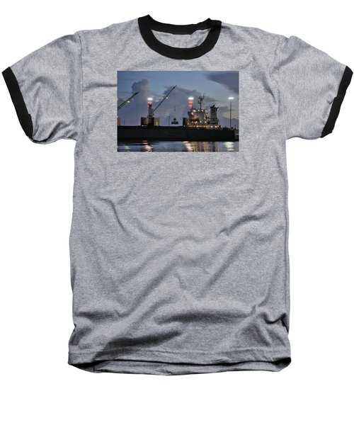 Baseball T-Shirt featuring the photograph Bulk Cargo Carrier Loading At Dusk by Bradford Martin