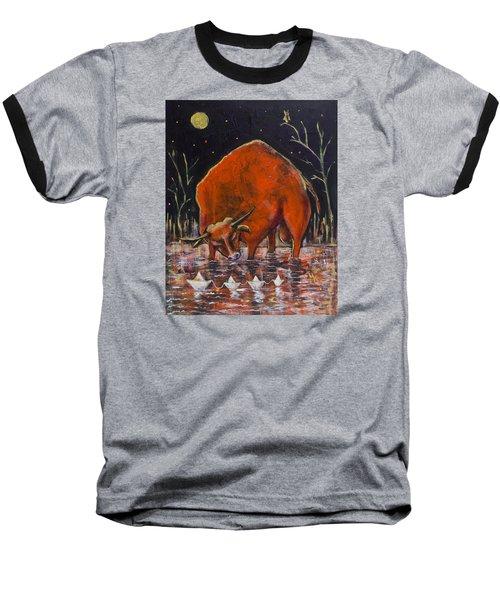Bull And Paper Boats Baseball T-Shirt by Maxim Komissarchik