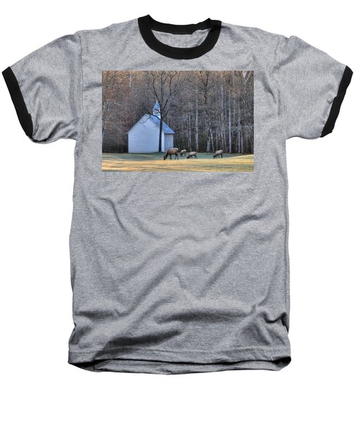 Bull Elk Attending Palmer Chapel  In The Great Smoky Mountains National Park Baseball T-Shirt