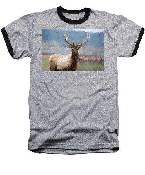 Bull Elk By The River Baseball T-Shirt