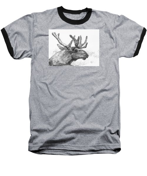 Baseball T-Shirt featuring the drawing Bull Moose Study by Meagan  Visser