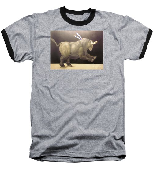 bull painting Botero Baseball T-Shirt by Ted Pollard