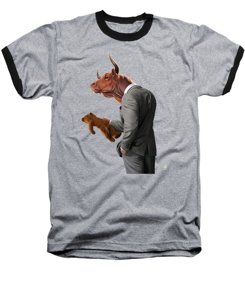 Baseball T-Shirt featuring the drawing Bull by Rob Snow