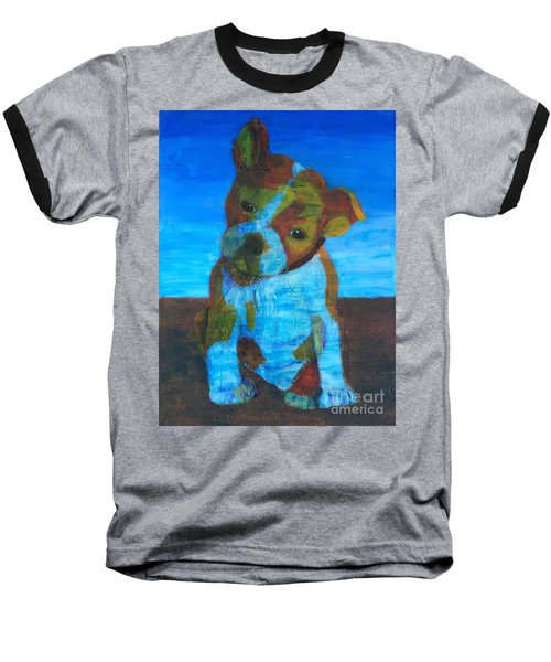 Baseball T-Shirt featuring the painting Bulldog Puppy by Donald J Ryker III