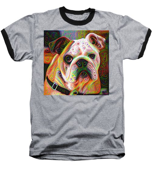 Bulldog Surreal Deep Dream Image Baseball T-Shirt