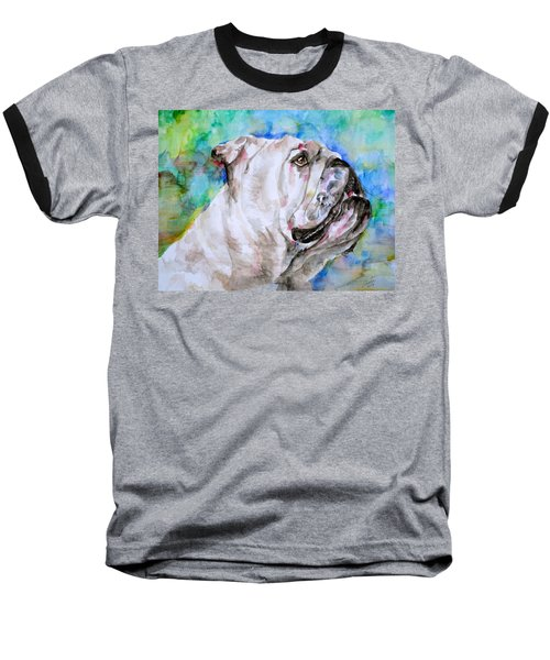 Baseball T-Shirt featuring the painting Bulldog - Watercolor Portrait.4 by Fabrizio Cassetta