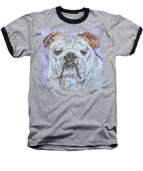 Baseball T-Shirt featuring the painting Bulldog - Watercolor Portrait.5 by Fabrizio Cassetta