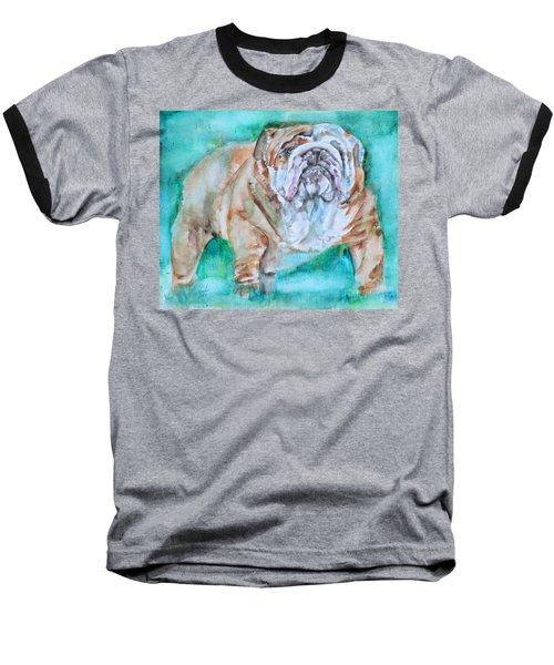 Baseball T-Shirt featuring the painting Bulldog - Watercolor Portrait.6 by Fabrizio Cassetta