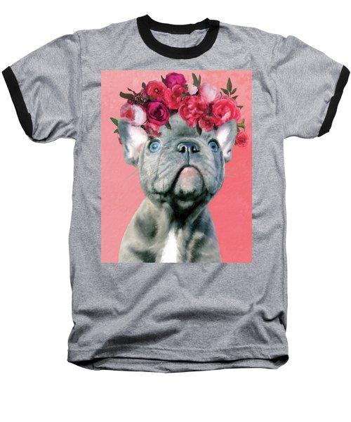 Bulldog With Flowers Baseball T-Shirt