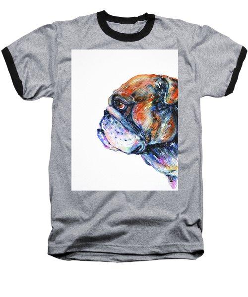 Baseball T-Shirt featuring the painting Bulldog by Zaira Dzhaubaeva