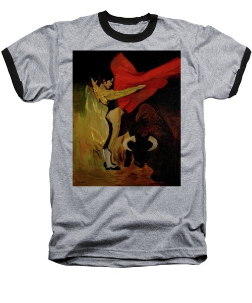 Baseball T-Shirt featuring the painting Bullfighter By Mary Krupa by Bernadette Krupa