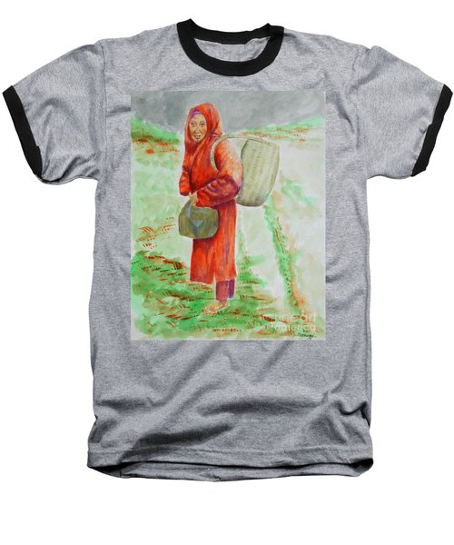 Bundled And Barefoot -- Portrait Of Old Asian Woman Outdoors Baseball T-Shirt