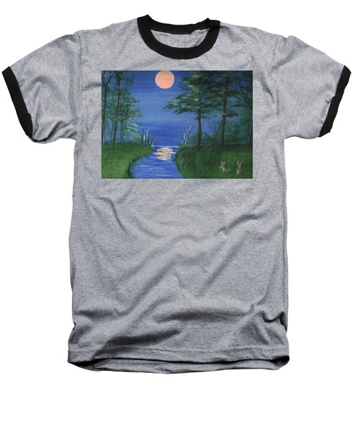 Bunnies In The Garden At Midnight Baseball T-Shirt