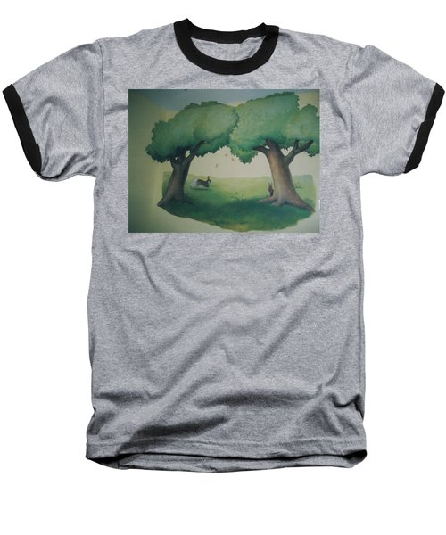 Bunnies Running Under Trees Baseball T-Shirt
