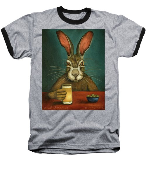Baseball T-Shirt featuring the painting Bunny Hops by Leah Saulnier The Painting Maniac
