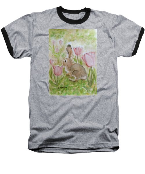 Bunny In The Tulips Baseball T-Shirt by Laurie Morgan