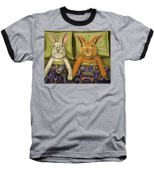 Baseball T-Shirt featuring the painting Bunny Love by Leah Saulnier The Painting Maniac