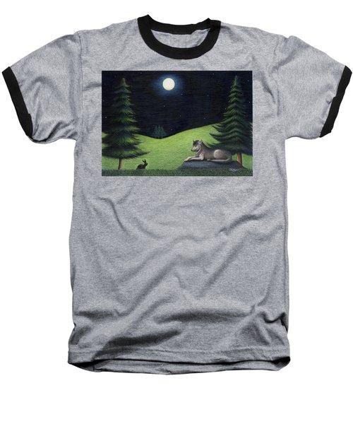 Bunny Visits Wolf Baseball T-Shirt