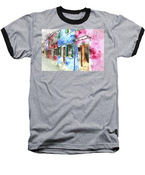 Burano Italy Buildings Baseball T-Shirt