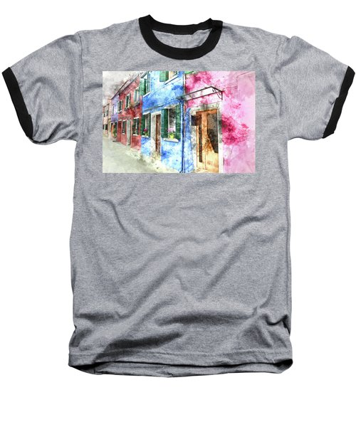 Burano Italy Buildings Baseball T-Shirt