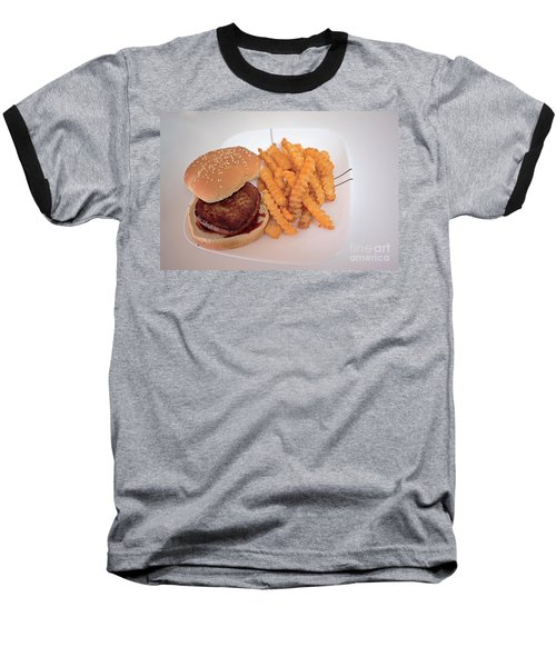 Burger And Fries Baseball T-Shirt by Anne Rodkin