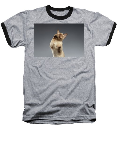 Burma Cat Paws Snout Covers On Gray Baseball T-Shirt