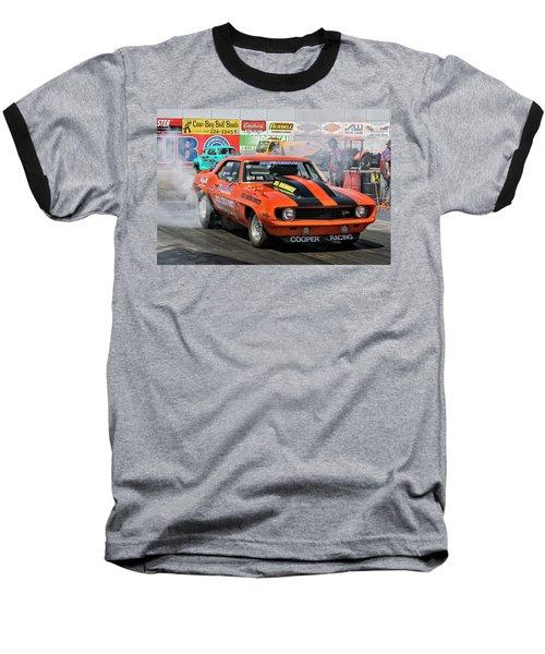 Burn Out Cooper Racing Baseball T-Shirt by John Swartz