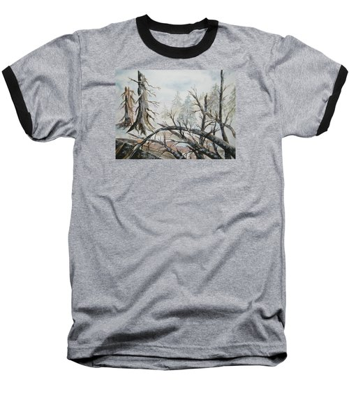 Baseball T-Shirt featuring the painting Burned Forest In The Snow by Ellen Levinson