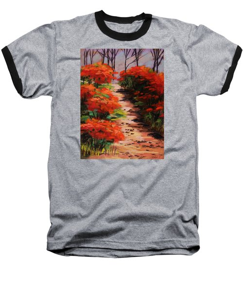 Burning Bush Along The Lane Baseball T-Shirt by John Williams